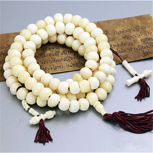 Mala - Bracelet or Necklace with Tibetan White Yak Bones