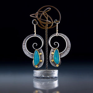 Boho Spirals Earrings with Blue Opal Natural Stones