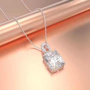 Classic Pendant Necklaces with Moissanite, Citrine and Pink Sapphire Precious Gemstones