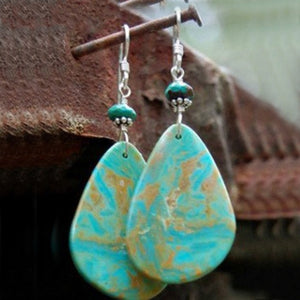 Vintage Turquoise Geometric Metal Earrings