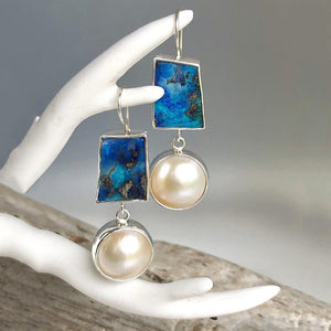 Bohemian Sea Blue Stone Drop Earrings