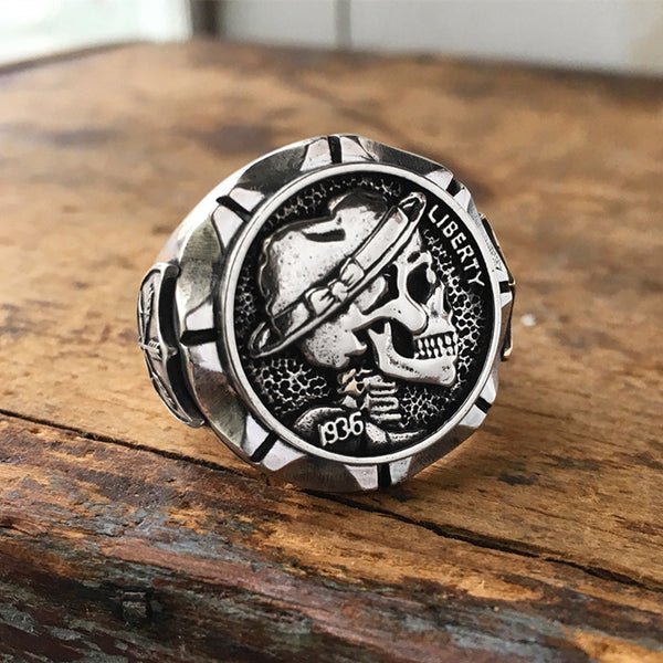 Mexican Hobo Nickel Skull Ring