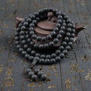 Mala - Bracelet or Necklace with Natural Polished Ebony Wood Stones