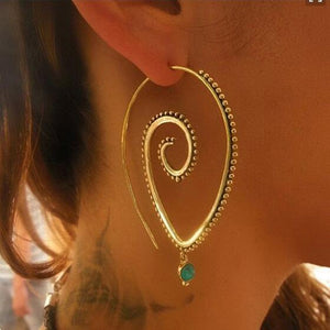 Large Tribal Spirals Hoop Earrings
