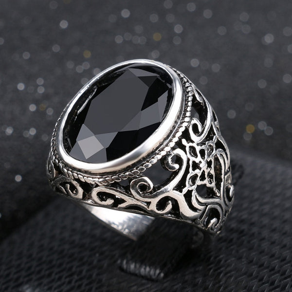 Antique Stone Ring with Black Obsidian, Emerald and Ruby Stones