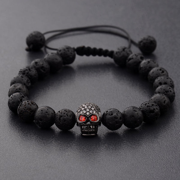 Mala Bracelet with Volcanic Lava Stones and Skull and Leopard