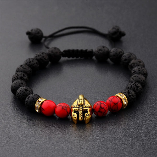 Mala Bracelet with Volcanic Lava Natural Stones and Roman Knight Gladiator Head