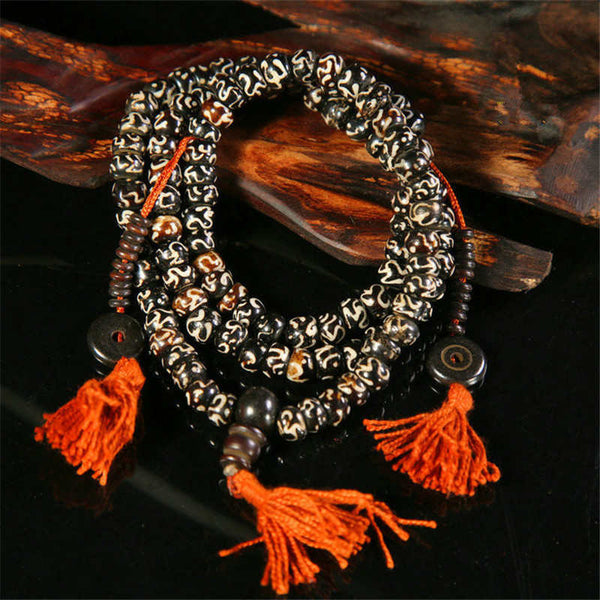 Mala - Bracelet or Necklace with Tibetan Buddhist Yak Bones