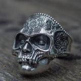 Antique Skull Mandala Flower Ring