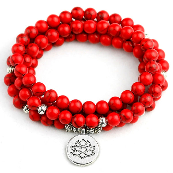 Mala - Bracelet or Necklace with Red Howlite Precious Stones