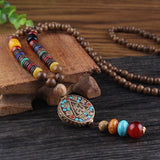 Mala Necklace with Vintage Agate Stones