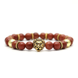 Mala Bracelet with Natural Tiger Eye and Volcanic Lava Stones and Lion Head