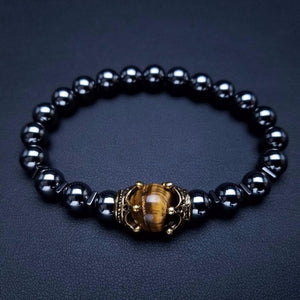 Mala - Bracelet with Black Onyx and Tiger Eye Natural Stones with Antique Crown