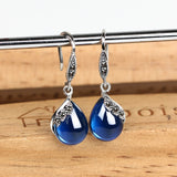 Vintage Drop Earrings with Chalcedony and Blue Sapphire Precious Stones