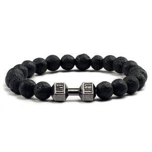 Mala Bracelet with Natural Black Volcanic Lava Stone and Dumbbell