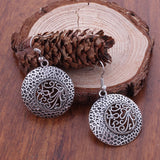 Tibetan Flower-Carved Pierced Earrings