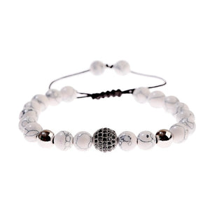 Mala Bracelet with Howlite Natural Stones and Zircon Crown & Disco Ball