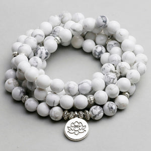 Mala - Bracelet or Necklace with White Howlite Natural Stones