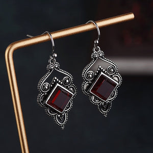 Ruby Gemstone Hook Earrings