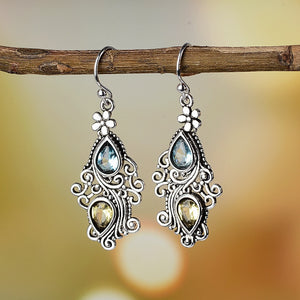 Boho Drop Earring with Amethyst and Blue Sapphire Precious Gemstones