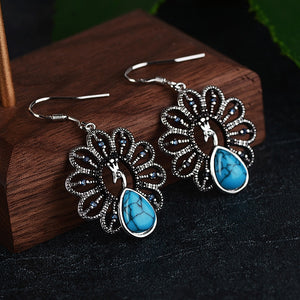 Bohemian Drop Earrings with Turquoise Natural Stones