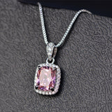 Classic Necklaces with Emerald, Pink and Blue Sapphire, Topaz, Amethyst and Citrine Precious Stones  White Gold Pendant Necklace