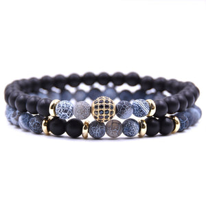 Mala - 2 Bracelets with Natural Stones and Pave CZ Disco Ball