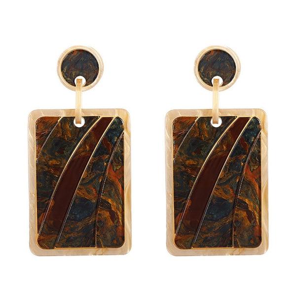 Tortoise Rectangle Dangle Earrings