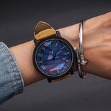 Large Dial Leather Wristwatch