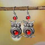 Vintage Owl Red Zircon Drop Earrings