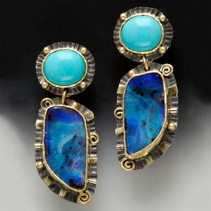 Vintage Turquoise and Deep Sea Blue Stone Earrings