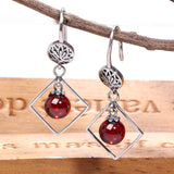 Natural Chalcedony and Red Garnet Ball Earrings