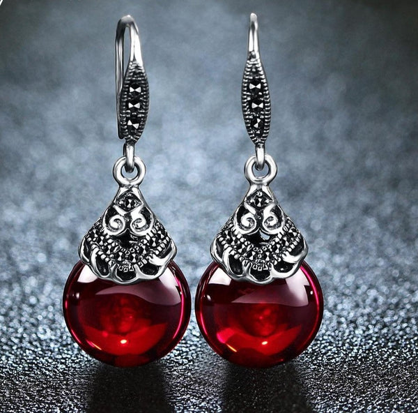 Vintage Drop Earrings with Red Garnet Precious Stones