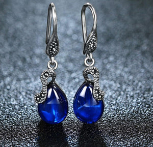 Vintage Drop Earrings with Blue Sapphire and Chalcedony Precious Gemstones