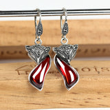 Vintage Fox Red Garnet Stone Drop Earrings