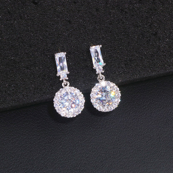 Round Cubic Zircon Earrings
