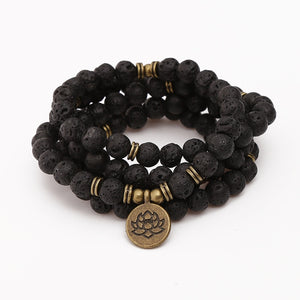 Mala - Bracelet or Necklace with Natural Volcanic Lava Stones