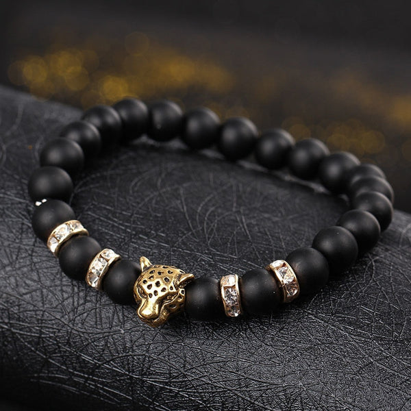 Mala Bracelet with Natural Volcanic Lava Stones and Leopard Head
