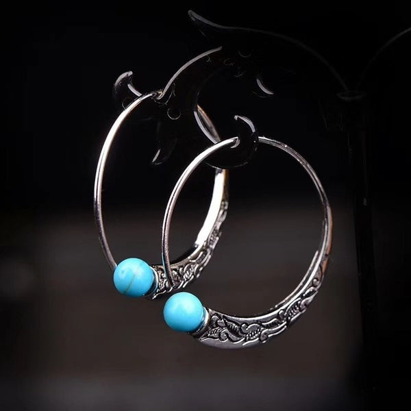 Vintage Hoop Earrings with Round Turquoise Natural Stones