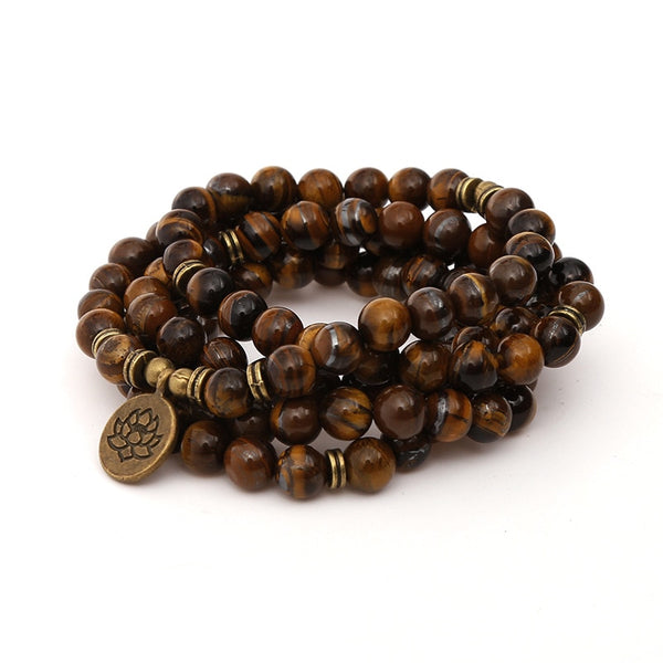Mala - Bracelet or Necklace with Tiger Eye Natural Stones