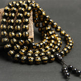 Mala - Bracelet or Necklace with Natural Obsidian Stones