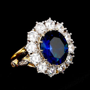 Vintage Ring with Big Oval Blue Sapphire Precious Stone