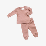 blush ribbed two-piece cozy set