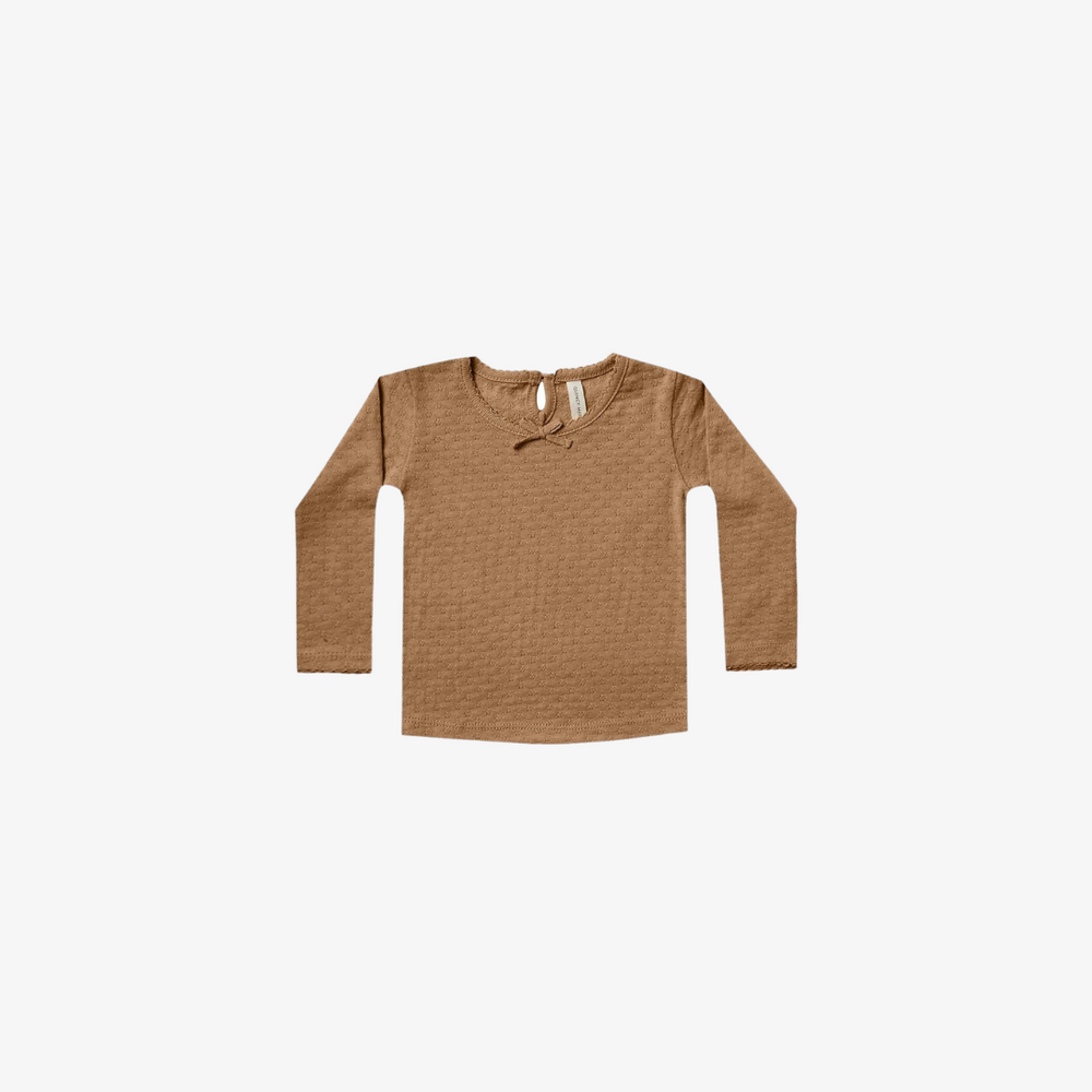 Quincy Mae Pointelle Longsleeve Tee in Walnut