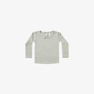 Quincy Mae Pointelle Longsleeve Tee in Sage