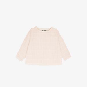 Gauze Double Button Top in Pink Tint