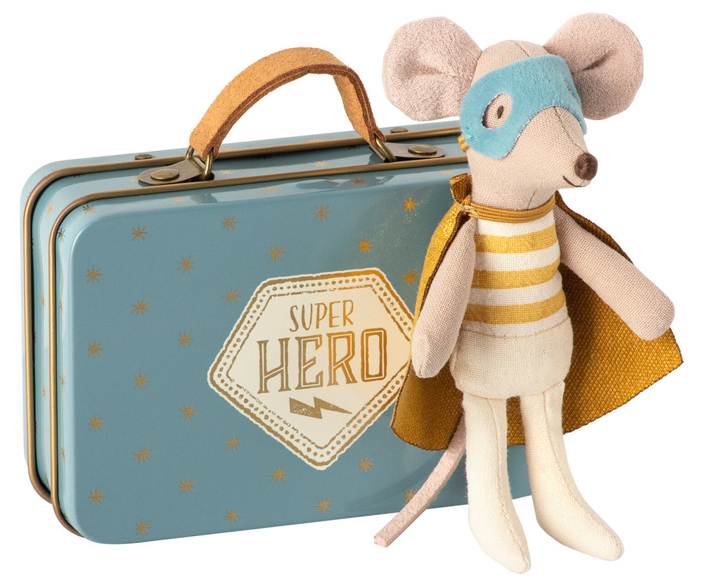Maileg Super Hero Little Brother Mouse with Metal Suitcase