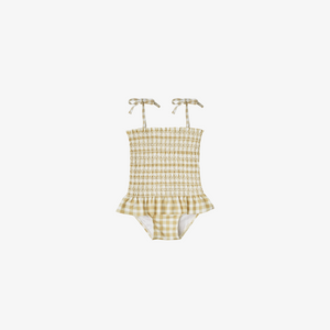 Smocked One Piece Baby Swimsuit | Butter Gingham