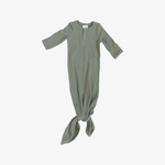 Green Organic Cotton Ribbed Knot Gown