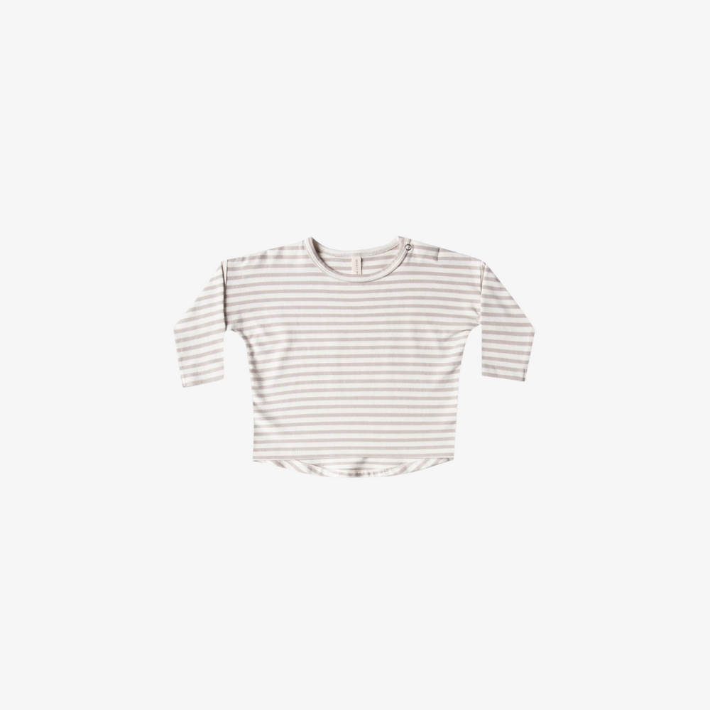 Quincy Mae Long Sleeve Baby Tee in Fog Stripe